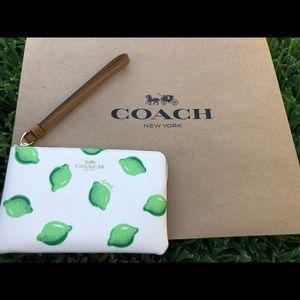 New Coach Corner Zip Wristlet With Lime Print!